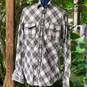 Express | Blue Plaid Fitted Shirt